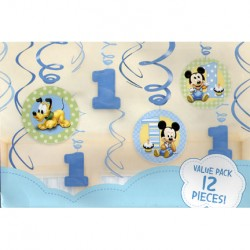 Mickey Mouse 1st Birthday Swirl Decorations
