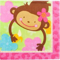 Floral Monkey Beverage Napkins (16-pack)