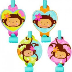 Floral Monkey Party Blowers (8-pack)