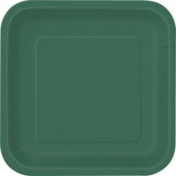 "Green 7"" Square Cake Plates (18 Pack)"