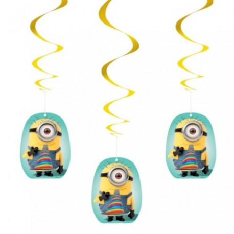 Minions despicable me hanging swirl decorations each for Paper swirl decorations