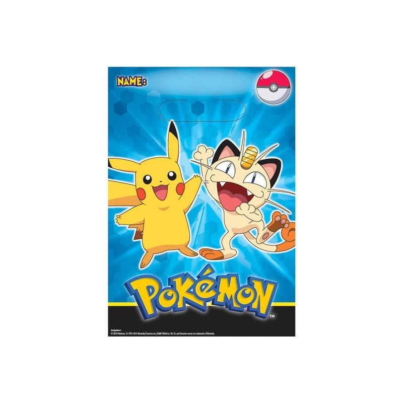 Loot Bags 1st Birthday Boys Balloons 8 Pk: Pokemon Loot Bags (8 Pack)