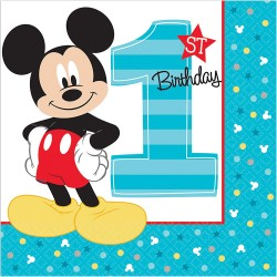 Mickey Mouse 1st Birthday Lunch Napkins (16-pack)