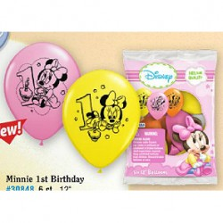 Minnie 1st Birthday 6 pack balloons