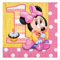 Minnie 1st Birthday napkins 13 inch