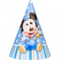 Mickey's 1st Birthday Party Hats (8-pack)