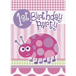 Ladybug First Birthday Party Invitations
