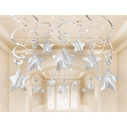 Silver Mega Value Pack Star Swirl Decorations (30)
