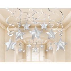 Silver Mega Value Pack Star Swirl Decorations (30)