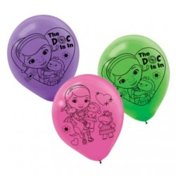 "Doc McStuffins Printed 12"" Latex Balloons 6 Pack (pink, purple, green)"